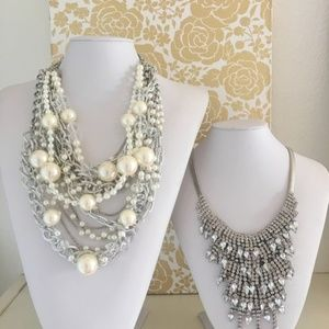SILVER Pearls & Chains Necklace